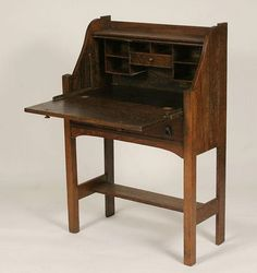 Antique Writing Desk – Small Portable Ladies Writing Desk : Mission Oak Slant Top Antique Secretary Writing Desk