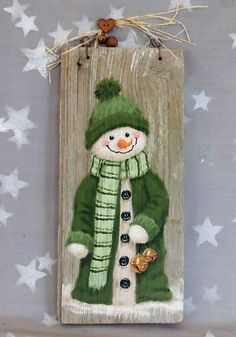 Bernie and her snowman bells ozarks illustrations on weathered wood 5 3 8 x 11 3 4 - Wood Design Christmas Wood Crafts, Snowman Crafts, Christmas Signs, Christmas Snowman, Christmas Projects, Holiday Crafts, Christmas Time, Christmas Decorations, Christmas Ornaments