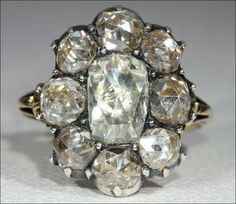 Huge Antique Georgian Rose Cut Diamond Cluster Ring. Stunning.