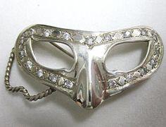 Vintage Harlequin Mask Sterling Silver Pin by COBAYLEY on Etsy