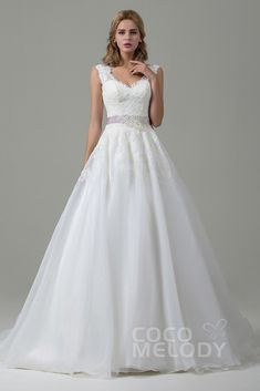 A-Line Court Train Lace and Organza Wedding Dress CWZT15007