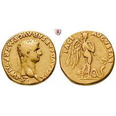 Römische Kaiserzeit, Claudius I., Aureus 43-44, ss+: Claudius I. 41-54. Aureus 18 mm 43-44 Lyon. Kopf r. mit Lorbeerkranz TI CLAVD… #coins