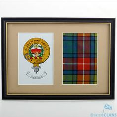 Clan Crest & Real Tartan - Framed Crawford Clan Shop - Clan Items Scottish Clans Tartans Kilts Crests and Gifts