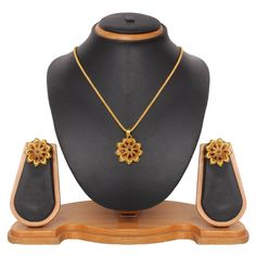 USD 15.45 Brown Zinc Kundans Necklace With Earrings 43972