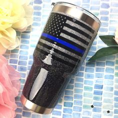 Ombre Glitter YETI - Back the Blue YETI Loved getting to make another glitter YETI to #backtheblue