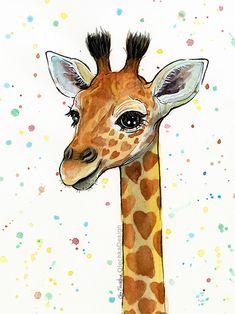 Baby Giraffe Watercolor Nursery Art Prints Animals