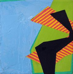 Green Split High Five - Abstract Painting by Artist Laura Mosquera