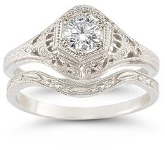 Our design antique-style 1 carat diamond bridal engagement and wedding ring set is an exact replica of a circa bridal set that jeweler's were making during this era in your choice of or white gold. Engagement Wedding Ring Sets, Antique Engagement Rings, Wedding Bands, Wedding Sets, Bridal Sets, Engagement Bands, Solitaire Engagement, Wedding Rings Vintage, Wedding Jewelry