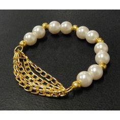 Pulsera de Moda con Perlas y Cadena de Aluminio
