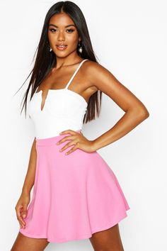 Womens Basic Fit And Flare Skater Skirt - Pink - 12 Skater Skirt Outfit, Skirt Outfits, Girly Girl Outfits, Teen Fashion Outfits, Girls In Mini Skirts, Dressy Skirts, Summer Outfits Women, Weekend Wear, Types Of Fashion Styles