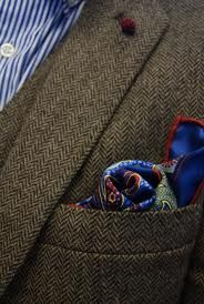 Herringbone tweed blazer with colourful paisley pocket square and striped shirt Sharp Dressed Man, Well Dressed Men, Tie And Pocket Square, Pocket Squares, Mode Costume, Brown Suits, Classic Style, My Style, Gentleman Style
