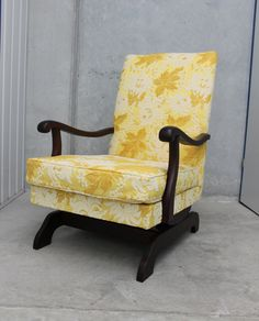 A sunny yellow brocade full of chrysanthemums on a spring rocking chair.Shipping will be calculated after purchase and invoiced separately.Dimensions:W Chrysanthemums, Rocking Chair, 1960s, Accent Chairs, Yellow, Spring, Furniture, Home Decor, Chair Swing