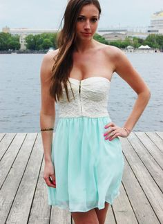Mint Strapless Sweetheart Dress with Cream Lace Zip Top