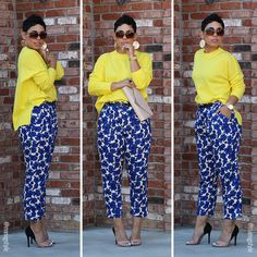 Blue Floral Pants and Yellow Sweater Work Fashion, Fashion Looks, Fashion Outfits, Fashion Trends, Casual Chic, Casual Wear, Floral Pants, Work Attire, Mode Style