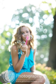 Whimsical Outdoor Senior Portrait with Bubbles by J Photography Grand Rapids, MI www.jphotographygr.com