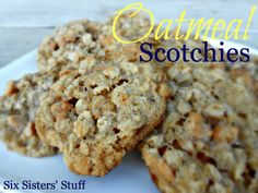 Oatmeal Scotchies Cookies from SixSistersStuff.com.  One of our family's favorite cookies! #recipes #dessert #cookies