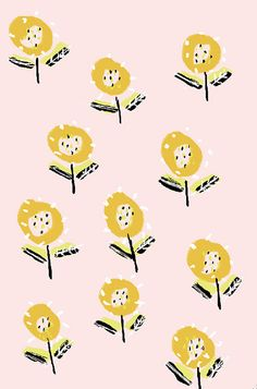 pattern, floral, yellow, pink, spring, summer, repeat, texture, print
