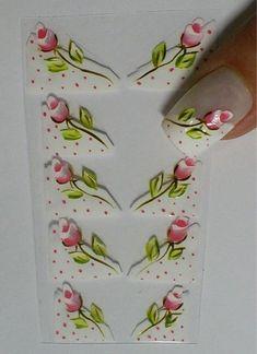 Glam Nails, Diy Nails, Nail Decals, Nail Stickers, Folk Art Flowers, Flower Nail Art, Nail Envy, Foto Art, Acrylic Nail Art