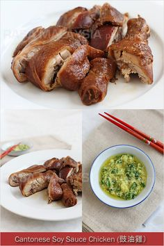Soy Sauce Chicken - dark and glossy whole chicken dunked in a soy sauce mix. Also try dipping it with the ginger and scallion condiment.   rasamalaysia.com