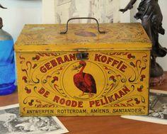 Large antique Belgian tin box le pelican by LaChineuseFrancaise, €55.95