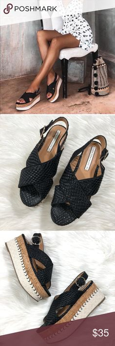 "903babc1545 Zara Woven Cork Platform Sandals Excellent condition No flaws 3"" Platform  Size 37  6.5"