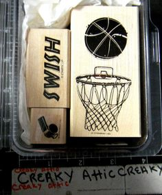 STAMPIN UP JUST BASKETBALL 3 RUBBER STAMPS WISTLE HOOP BALL SWISH #STAMPINUP