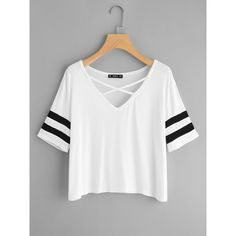 SheIn(sheinside) Crisscross Neck Striped Sleeve Tee (190 ARS) ❤ liked on Polyvore featuring tops, t-shirts, white, short sleeve tops, short sleeve t shirt, striped tees, striped sleeve t shirt and white t shirt