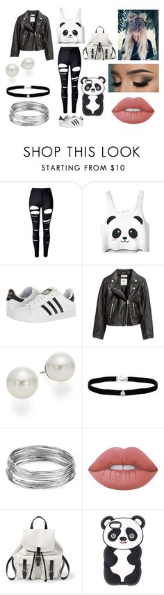 """""""Kawaii Panda"""" by kaylamoraled on Polyvore featuring WithChic, adidas, H&M, AK Anne Klein, Amanda Rose Collection, Aqua, Lime Crime and Steve Madden"""