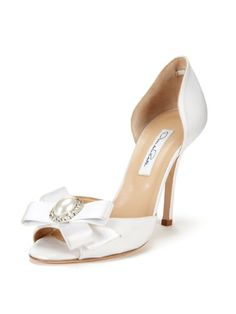 Mania Satin Peep-Toe Pump by Oscar de la Renta