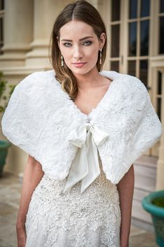 Jasmine Bridal Faux Fur Shawl Style With Bow Jasmine Bridal, Bridal Gowns, Wedding Dresses, Shawl, Ruffle Blouse, Bridesmaid, Couture, Lace, Faux Fur