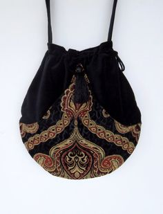 Black Velvet Tapestry Pocket Boho Bag ❤ by piperscrossing on Etsy, $58.00