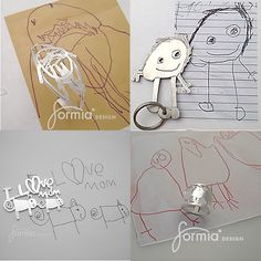 Sterling silver jewelry and keychains from your own child's artwork handmade by Goldsmith Mia van Beek. Upload a favorite drawing and order now for Mother's Day! www.formiadesign.com.