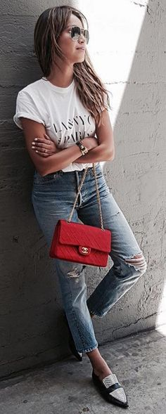#spring #summer #street #style #outfitideas | Tee + Levis + Pop Of Red | Sincerely Jules