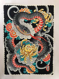 Da Vinci Folio Archival Matte Bright white and smooth medium weight matte size Japanese Snake Tattoo, Japanese Tattoo Designs, Japanese Drawings, Japanese Artwork, Traditional Japanese Tattoo Flash, Koi Tattoo Sleeve, Making My Way Downtown, Doodle Tattoo, Snake Art