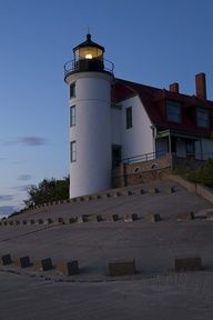 Point Betsie Light North ofFrankfort Lakwest of Lelande Michigan ,Michigan US44.691300, -86.255200