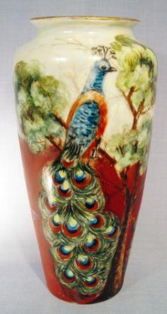 Tressemann & Vogt Limoges Peacock Vase