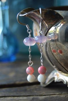 Amethyst Rondelle Stone, Silver Plated Earrings, Pink and White Shells Beads by DrunkInMoon on Etsy