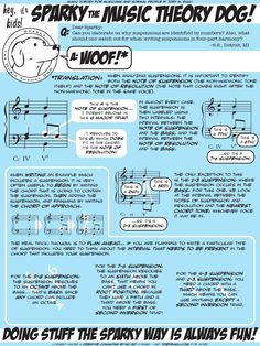 Sparky the Music Theory Dog answers a question about analyzing and writing suspensions.