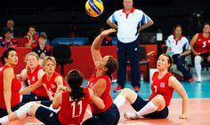 Martine Wright, centre, of Team GB in action during the women's sitting volleyball first pool A match between Great Britain and Ukraine.