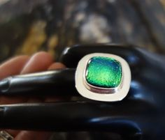 LARGE GREEN BLUE DICHROIC GLASS FUSED TASCO SILVER 0NE OF A KIND RING 8- 18 gram #CONTEMPORYSTATEMENT
