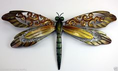 METAL DRAGONFLY WALL GARDEN SIGN DECOR 15 IN. x7 IN.HOME DECOR GOLD ORANGE RUST