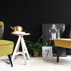 Restored vintage cocktail chair in Svensson Yellow wool. Styled with the Menu bollard light, ByAlex side table and ViaMartine model poster. See more at www.florrieandbill.com Bollard Lighting, Cocktail Chair, Restoration, Menu, Wool, Yellow, Music, Table, Poster