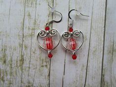 Silver Heart Earrings, Valentine Earrings, Red Heart Earrrings, Valentine Jewelry, Valentine Gifts, Earrings, Red Earrings,Mothers Day Gifts by BrownBeaverBeadery on Etsy