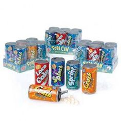 This unique looking candy comes in the shape of a soda can. The soda can fizzy candy has a pull tab top so you can access the candy but can be resealed once opened. Each box contains 6 soda cans and each unit has 12 boxes of candy. That is a total of 7 Carnival Supplies, Party Supplies, Carnival Prizes, Hard Candy Molds, Christmas Lyrics, Baby Alive Dolls, Candy Brands, Party Supply Store, Sour Candy