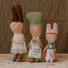 Julie Arkell, papier mâché    rabbit charms (hanging): rabbity, because of all the ifs, good luck