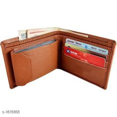 Wallets Stylish Wallets For Men   *Material* Artificial Leather  *Size (W X H)* 11.4 mm X 9.4 mm  *Compartments* 2 Card Slots - 10  *Description* It Has 1 Piece Of Men's Wallet  *Pattern* Solid  *Sizes Available* Free Size *   Catalog Rating: ★4.1 (250)  Catalog Name: Classic Stylish Wallets For Men Vol 6 CatalogID_210710 C65-SC1221 Code: 122-1619303-