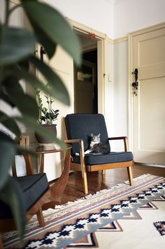 Even the cat feels at home on the lovely Danish-style armchairs!