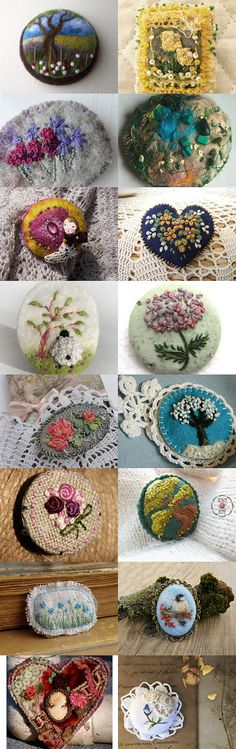 Yarns and Fibers Dance on Brooches by Dita Smith Hejnik on Etsy--Pinned with TreasuryPin.com