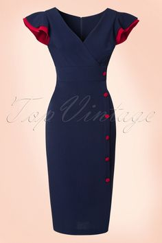 """Feel like a billion dollar in this50s Honor Pencil Dress!  Stop Staring! is well known for its high quality and great fit, this versatile bombshell is no exception! An elegant wrap top that looks amazing on all cup sizes, playful flattering butterfly sleeves and a fantastic row of """"faux"""" red buttons.Made from a stretchy dark blue Millenium fabric that will hug your curveswhile still allowing you to move freely.Retro chic, beautiful and classy; the ultimate Stop Starin..."""