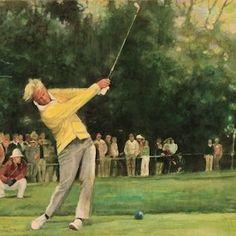 Walt Spitzmiller - Jack Nicklaus 1972 U. Open Pebble Beach Golf Links Pebble Beach CA - Tying Bob Jones Golf Art, Jack Nicklaus, Portfolio Book, Golf Accessories, Pebble Beach, Play Golf, Golf Clubs, Books, Painting